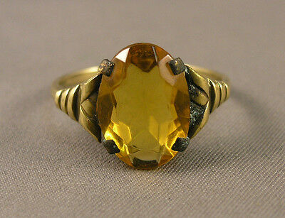 Vintage European Lady's Art Deco Gold Filled & Faceted Faux Citrine Ring 8-3/4