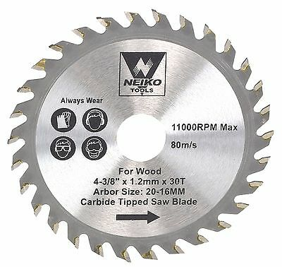 "NEIKO 10771A - 4-3/8"" x 30T Carbide Tipped woodworking Saw Blade"