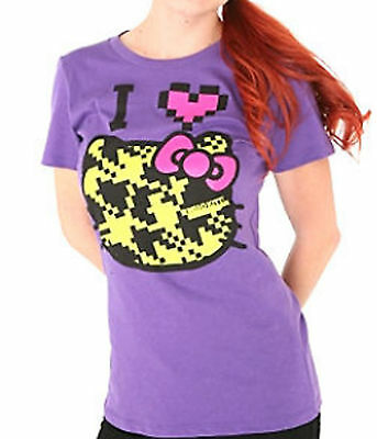 SANRIO HELLO KITTY PIXILATED PIXEL FACE RED BOW  I LOVE PURPLE T SHIRT TOP NWT C