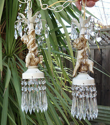 Shabby cherub ceiling double swag lamp Chandelier French st spelter tole Vintage