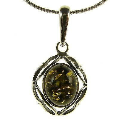 Gift Boxed Baltic Amber Sterling Silver 925 Green Pendant Jewellery Jewelry