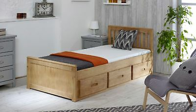 Kids Bed Storage Drawers Wooden Pine Single Mission With