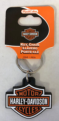 Harley-Davidson Bar & Shield Rubber Key Chain Plasticolor NEW