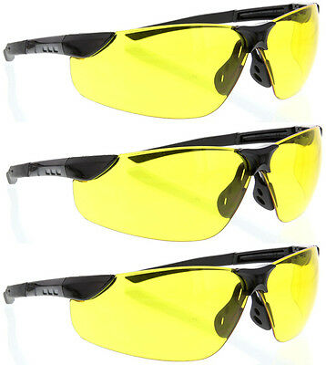 3 Pairs lot BLACK YELLOW LENS CLEAR SAFETY GLASSES FLEXIBLE sghega protective