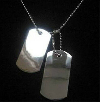 GIFTS FOR MEN NEW Engravable Silver Plated ID Dog Tags Pendant & Chain Necklace