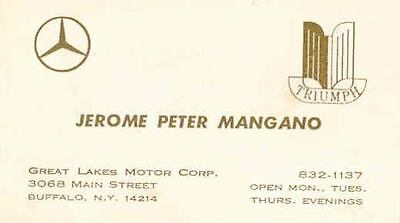 1963 ? Triumph Mercedes Benz Dealer Business Card Great Lakes Buffalo NY wq1232