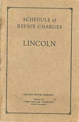 1927 1928 Lincoln Repair Charges Flat Rate Book wq4855-6FAOGW