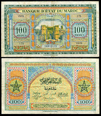 Morocco 100 Francs 1944 P 27 Circulated See Scan