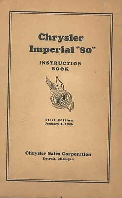 1926 Chrysler Imperial Eighty Owners Manual 1st Edition wq5208-CG81AP