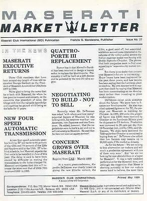 May 1989 Maserati Market Letter Magazine Issue # 27 wq8048-WN54BL