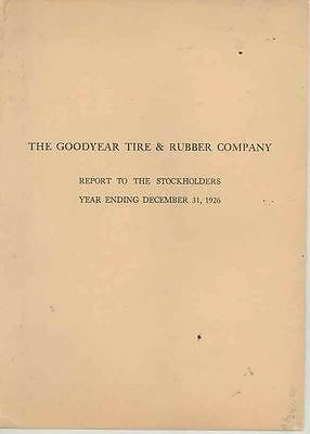 1926 Goodyear Tire & Rubber Company Stockholders Annual Report Brochure ws0009-H