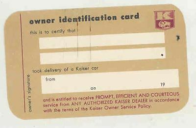 1952 Kaiser Owner ID Card & Owner Service Policy Brochure ws1481-N2DIJE
