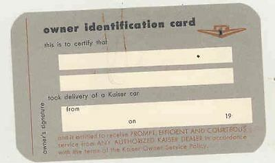 1953 Kaiser Owner ID Card & Owner Service Policy Brochure ws1480-DKHM2X