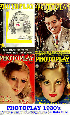Photoplay 1930s Vintage Collection Film Movie Screen Magazines on Data Disc