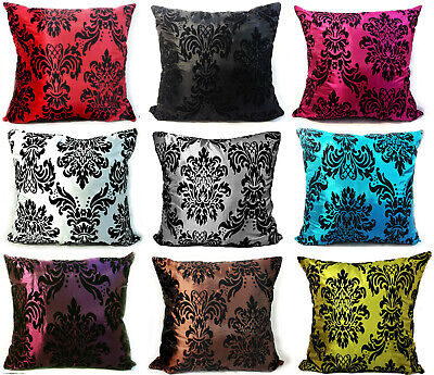 "X Large Flock Damask Cushions + Covers 9 Colours 23""X23""Replace Old Sofa Cushion"