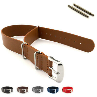 Nato Genuine Leather Military Watch Strap Band G10 MoD SS. Buckle Spring Bars