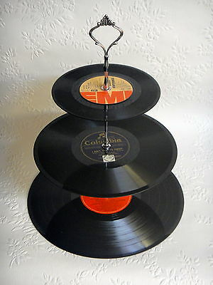 Record Cupcake Stand 3 Tier Vinyl Retro Rockabilly Rock n Roll Cake 50s 60s 70s