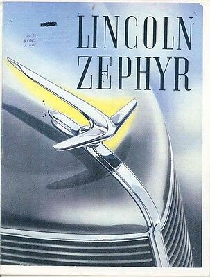 1936 Lincoln Zephyr Sales Brochure REPRINT wb9687-Y94WHS