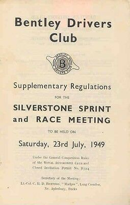 July 1949 Silverstone Bentley Driver's Club Race Rules wx6769-5GQGCP