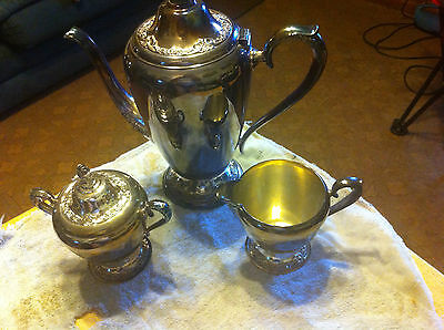 Rogers Bros  Silverplate Coffee Pot with Sugar and Creamer Set