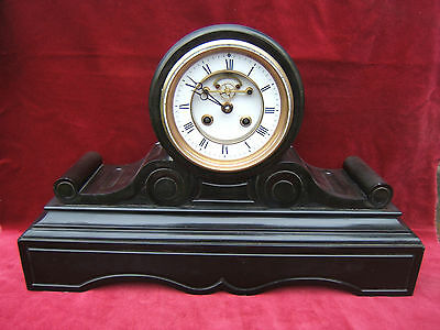 Clock vintage slate/marble barrel  scrolls serviced working R C Mdealle de  S3