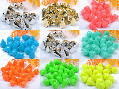 Lots 50/100Pcs Acrylic Spikes Rivet Studs Taper Beads Spacer Cone Findings 15MM