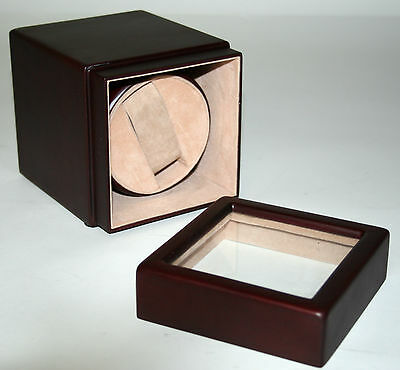 Single Automatic Watch Winder Wood Rotating Rotation Display Stand Case Men's