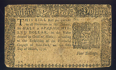 March 1776 New York Half ( Spanish Milled ) Dollar - Paper Break Error Circ Used