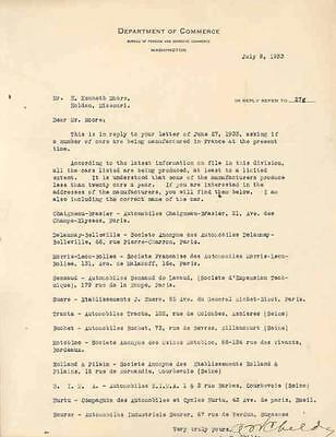 1933 US Letter France Automobile Saurer Delaunay Tracta wn4790-IF3PVQ