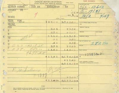 1959 Cadillac Sedan DeVille Factory Invoice Bill Lading wn5745-LCXKYO