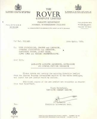 1969 Land Rover Factory Letter  wn6844-8RDKBU