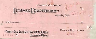 1914 1915 ? Dodge Factory Cashiers Check Sample wn744-V7ZZHW