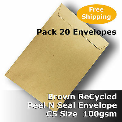 20 x Light Brown ReCycled Envelope C5 Size !SECONDS! Self Seal 100gsm #S0772 #D1