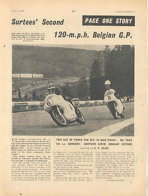 1960 MV & BMW Belgian GP Motorcycle Race Article wl8681-OLTHAD