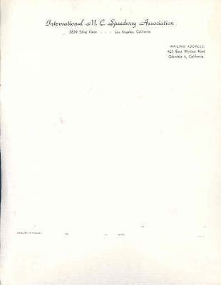 1950 ? International Motorcycle Speedway As. Letterhead wk6686-EIWOWR
