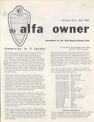 May 1962 Alfa Romeo Club Magazine Volume 5 #5 2.9  wj7609-3WRVV5
