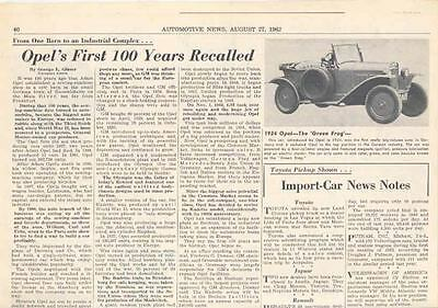 1862 thru 1962 Opel History Magazine Article  wi3611-WQVLXZ