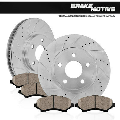FRONT KIT DRILLED AND SLOTTED BRAKE ROTORS & CERAMIC PADS 05 - 10 Grand Cherokee