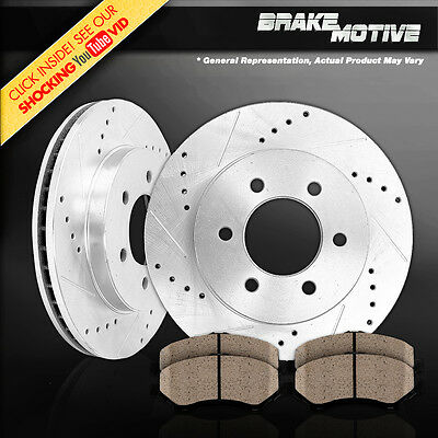 [FRONT KIT] PERFORMANCE DRILLED AND SLOTTED BRAKE ROTORS & CERAMIC PADS M210517