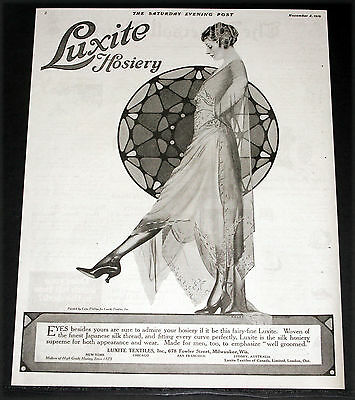1919 Old Magazine Print Ad, Luxite Hosiery, Japanese Silk, Coles Phillips Art!