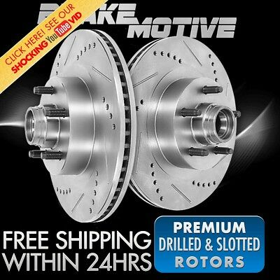 FRONT DRILLED AND SLOTTED BRAKE ROTORS Ford Expedition F150 Lincoln Navigator