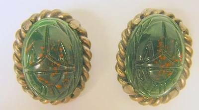 Large Vintage Egyptian Revival Carved Stone Scarab Earrings Clip On