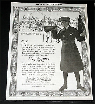 1919 Old Magazine Print Ad, Right-Posture Boys Clothes You Wear With Pride, Art!