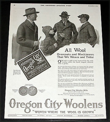 1919 Old Magazine Print Ad, Oregon City Woolens, Overcoats And Mackinaws, Art!