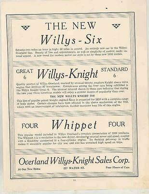 1930 Willys 6 Knight Whippet Overland Buick Marquette Binghamton Dealr Ad ws6606