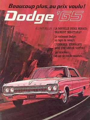 1965 Dodge Monaco Polara 330 Brochure Canada French  wh120-GHLAEV