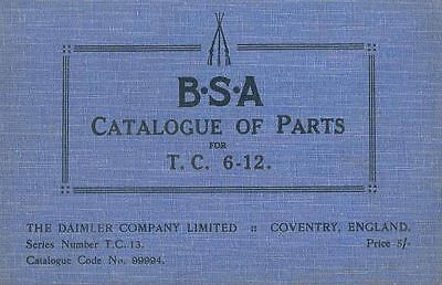 1924 BSA Model TC 6-12HP Illustrated Parts Book  wh7363-49K6VG