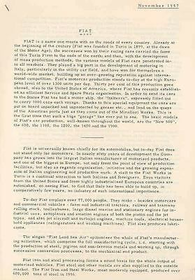 1958 Fiat Works Factory Plant Press Release Airplane wh8274-M518NV