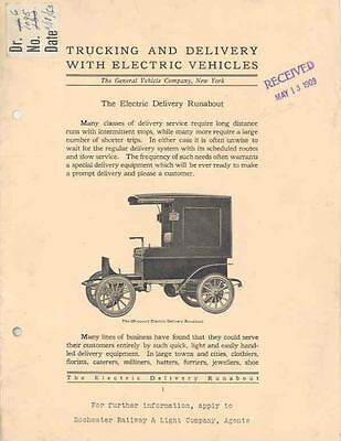 1909 General Vehicle Electric Deliv. Runabout Brochure wg9202-JYWYNI