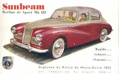 1956 Sunbeam Mark III Brochure French Monte Carlo Rally wg9657-C4M67Y
